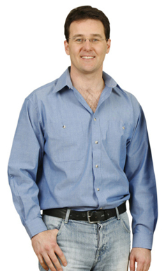 Picture of Winning Spirit - BS03L - Men's Wrinkle Free Long Sleeve Chambray Shirts