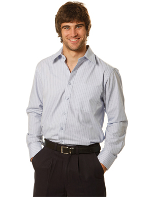 Picture of Winning Spirit - BS17 - Men's Herringbone Pin Stripe Long Sleeve Shirt