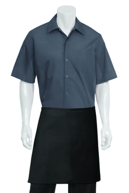 Picture of Chef Works - F28NP-BLK - Black Half Apron No Pocket