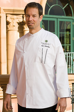 Picture of Chef Works - SILS-WET - Amalfi Signature Series White Chef Coat w Black Piping