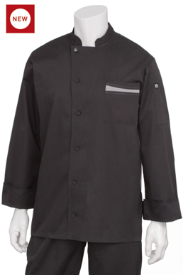 Picture of Chef Works - VSLS-BGC - Lyss Black V Series LS Tunic Coat w Gray Trim