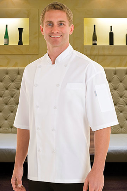 Picture of Chef Works - EWCV-BLK - Palermo Black Short Sleeve Chef Coat w Cool Vent™