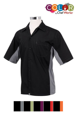 Picture of Chef Works - CSMC-BRM - Men's BlackRed Universal Contrast Cook Shirt