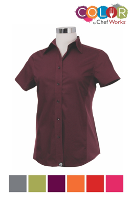 Picture of Chef Works - CSWV-GRY - Female Gray Universal Contrast Shirt