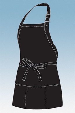 Picture of Chef Works - F10-BLK - Black Three Patch Pocket Apron