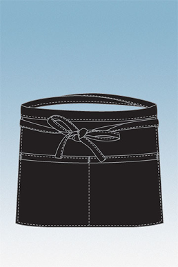 Picture of Chef Works - F22-BLK - Black Two Pocket Square Waist Apron