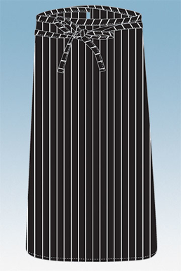 Picture of Chef Works - F24S-BCS - Black Chalkstripe 34 Bistro Apron No Pocket