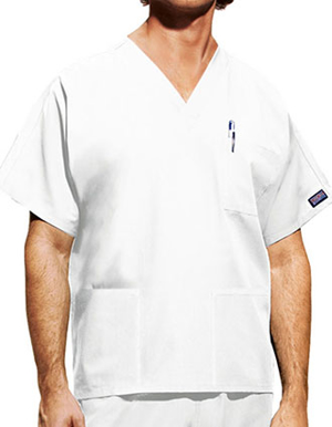 Picture of CHEROKEE-CH-4876WH-Cherokee Unisex Three Pockets V-Neck White Nurse Scrub Top