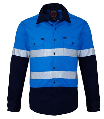 Picture of Ritemate Workwear-RM1050R-Open Front 2 Tone L/S Shirt with 3M 8910 Reflective Tape  Shirts