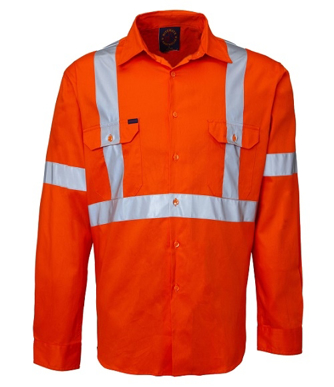 "Picture of Ritemate Workwear-RM109VXR-Vented Open Front,3M 8910 Reflective Tape ""X"" design Shirts"