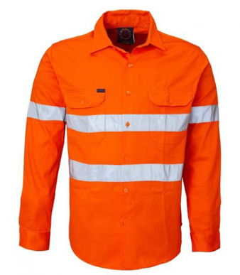 Picture of Ritemate Workwear-RM208V3R-Ladies Long Sleeve Vented Shirts with 3M 8910 Reflective Tape Shirts