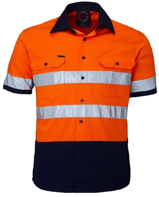 Picture of Ritemate Workwear-RM107V2RS-Vented Open Front Light Weight S/S Shirt with 3M 8910 Reflective Tape Shirts