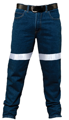 Picture of Ritemate Workwear-RM106DJR-Men's Pilbara Cotton Denim Jean 3M 8910 Reflective Tape
