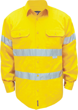 Picture of Prime Mover-MA191-Hi-Vis Regular Weight Long Sleeve Shirt with Tape