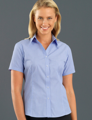Picture of John Kevin Uniforms-119 Blue-Womens Short Sleeve Pinfeather Stripe