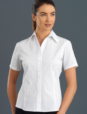 Picture of John Kevin Uniforms-131 Grey-Womens Short Sleeve Window CheckSemi-Tailored Fit