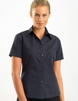 Picture of John Kevin Uniforms-137 Charcoal-Womens Short Sleeve Dark Stripe