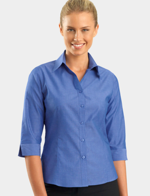 Picture of John Kevin Uniforms-160 Indigo-Womens 3/4 Sleeve Chambray