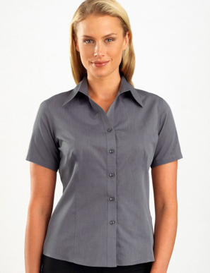 Picture of John Kevin Uniforms-161 Graphite-Womens Short Sleeve Chambray