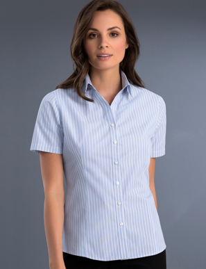 Picture of John Kevin Uniforms-719 Blue-Womens Slim Fit Short Sleeve Pinfeather