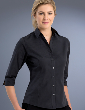 Picture of John Kevin Uniforms-736 Charcoal-Womens Slim Fit 3/4 Sleeve Dark Stripe