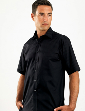 Picture of John Kevin Uniforms-461 Black-Mens Short Sleeve Self-Stripe
