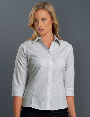 Picture of John Kevin Uniforms-324 Grey-Womens 3/4 Sleeve Mini Check