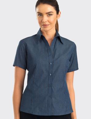 Picture of John Kevin Uniforms-343 Slate-Womens Short Sleeve Bold Stripe