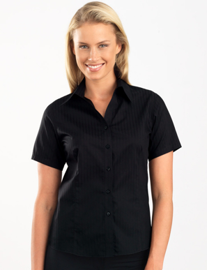 Picture of John Kevin Uniforms-361 Black-Womens Short Sleeve Self-Stripe