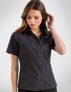 Picture of John Kevin Uniforms-353 Black-Womens Short Sleeve Dark Stripe