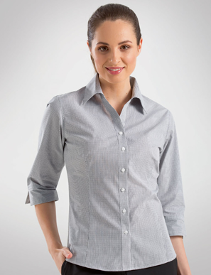 Picture of John Kevin Uniforms-356 Grey-Womens 3/4 Sleeve Multi Check