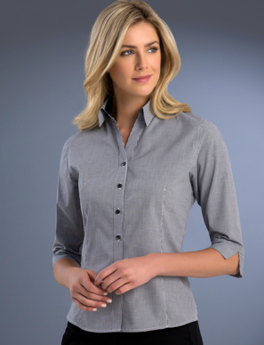 Picture of John Kevin Uniforms-772 Black-Womens Slim Fit 3/4 Sleeve Small Check