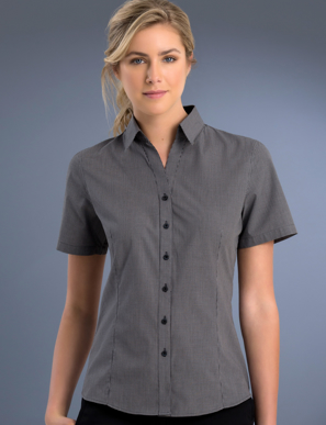 Picture of John Kevin Uniforms-775 Charcoal-Womens Slim Fit Short Sleeve Small Check
