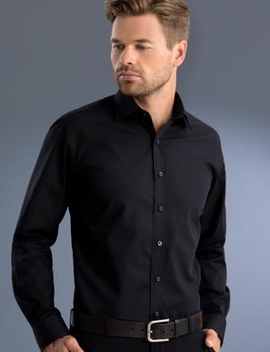 Picture of John Kevin Uniforms-800 Black-Mens Slim Fit Long Sleeve Poplin