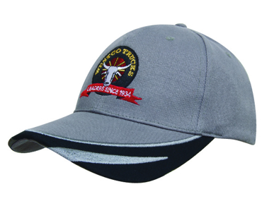 Picture of Headwear Stockist-4072-Brushed Heavy Cotton with Peak Trim Embroidered