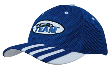 Picture of Headwear Stockist-4109-Sandwich Mesh with Striping on Peak