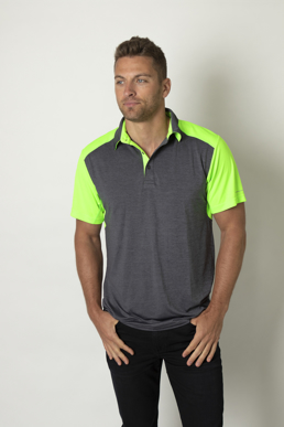 Picture of Be seen-BKP401--Mens Charcoal Heather soft touch polo