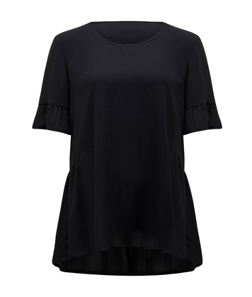 Picture of NNT Uniforms-CATUA5-BLA-Short Sleeve Ruffle Blouse