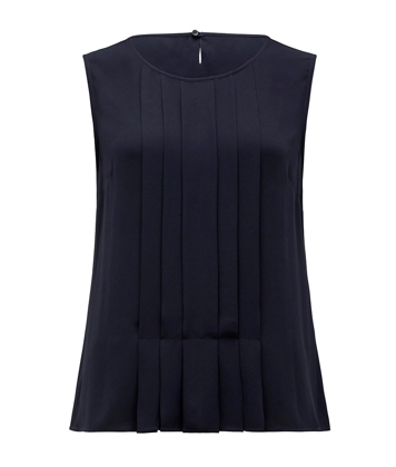 Picture of NNT Uniforms-CATU5Q-NAV-Sleeveless Pleat Front Blouse