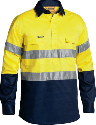 Picture of Bisley Workwear-BTC6456-3M Taped Closed Front Hi Vis Drill Shirt Long Sleeve