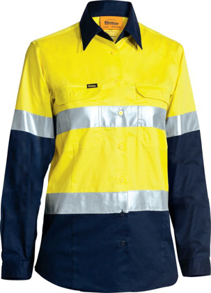 Picture of Bisley Workwear-BL6896-Womens 3M Taped Cool Lightweight Hi Vis Shirt - Long Sleeve