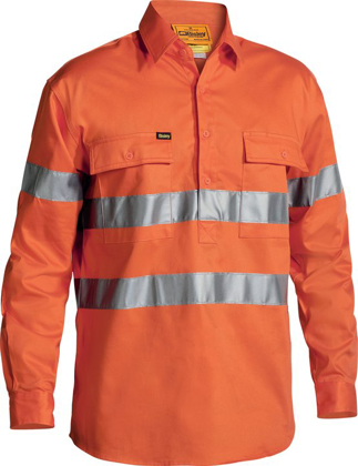 Picture of Bisley Workwear-BTC6482-3M Taped Closed Front  Hi Vis Drill Shirt Long Sleeve