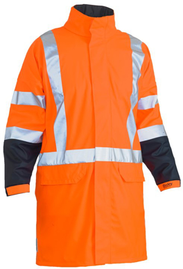 Picture of Bisley Workwear-BJ6955XT-3M Taped Hi Vis Stretch Pu Rain Coat With Concealed Hood And X Back (Waterproof)