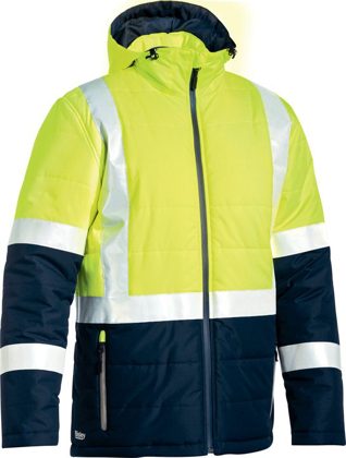 Picture of Bisley Workwear-BJ6929HT-Taped Hi Vis Puffer Jacket (Shower Proof)