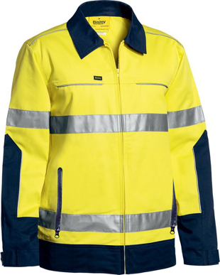 Picture of Bisley Workwear-BJ6917T-3M Taped Hi Vis Drill Jacket With Liquid Repellent Finish