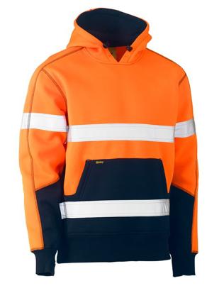 Picture of Bisley Workwear-BK6619T-Taped Hi Vis Fleece Hoodie Pullover