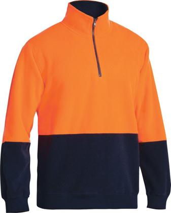 Picture of Bisley Workwear-BK6889-Hi Vis Polar Fleece Zip Pullover
