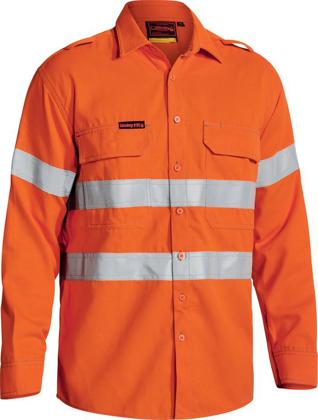 Picture of Bisley Workwear-BS8081T-Tencate Tecasafe® Plus 700 Taped Hi Vis Fr Vented Shirt Long Sleeve