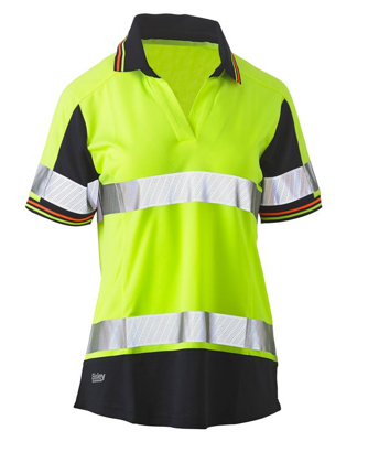 Picture of Bisley Workwear-BKL1225T-Womens Short Sleeve Taped Two Tone Hi Vis V-Neck Polo