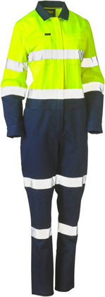 Picture of Bisley Workwear-BCL6066T-Womens Taped Hi Vis Cotton Drill Coverall